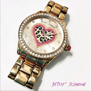 Betsey Johnson: Heart Leopard Print Watch
